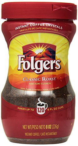 Folgers Classic Roast Instant Coffee, 8 Ounce