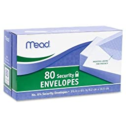 Mead #6 3/4 Security Envelopes, 80 Count (75212), Pack Of 2 by Mead