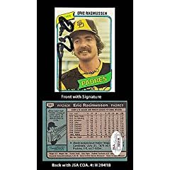 Eric Rasmussen Signed 1980 Topps #531 San Diego Padres Trading Card JSA COA
