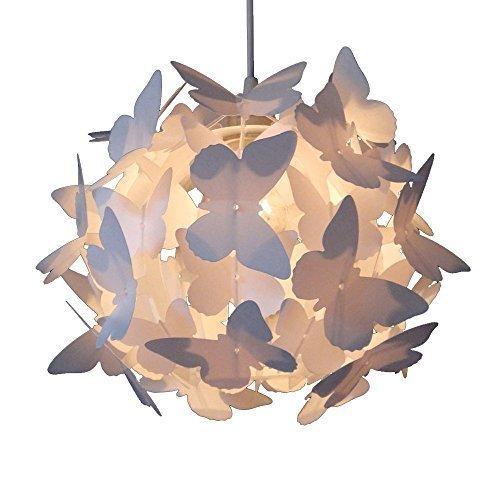 MiniSun - Paralume bello e moderno per lampada a sospensione con motivo di farfalle bianche