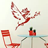 Bird Olive Branch Wall Sticker / Vinyl Decal Transfer / Graphic Stencil BI11