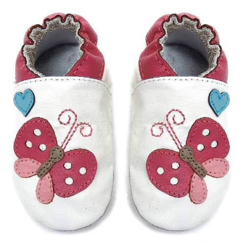 Momo Baby Infant/Toddler Flutter White Soft Sole Leather Shoes - 18-24 Months/6-7 M Us Toddler front-1077827