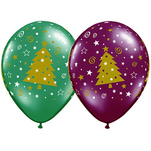 "11"" Christmas Tree Stars & Swirls Around Balloons (10 ct) (10 per package)"