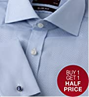 Sartorial Pure Cotton Slim Fit Rib Striped Shirt