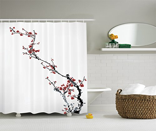 Cherry Blossom Waterproof Shower Curtain, Watercolor Flowers Decorations  Collection, Spring Cherry Branches