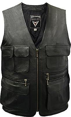 TRAPPER Multipocket Leather Waistcoat Vest - Black
