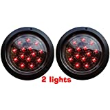 SET OF 2 AutoSmart Flush Mount dw-25105c-R ROUND LED STOP TURN TAIL Clear LENs LIGHTS FOR TRUCK TRAILER red