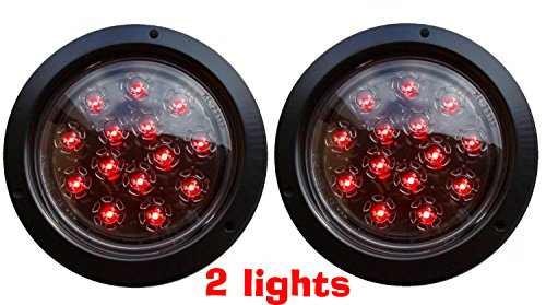 SET OF 2 AutoSmart Flush Mount ROUND LED STOP TURN TAIL LIGHTS FOR TRUCK TRAILER red (Round Trailer Lights compare prices)