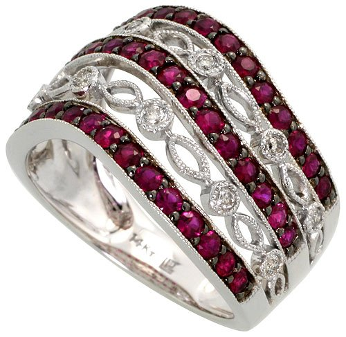 14k White Gold Lace Ring, w/ 1.0 Total Carat Brilliant Cut Diamonds & Brilliant Cut Ruby Stones, 1/2 in. (13mm) wide, size 6