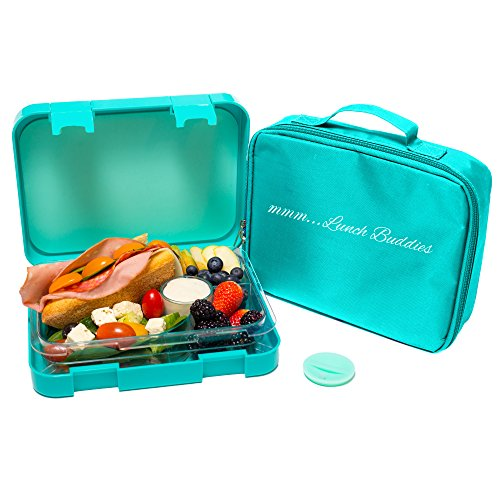 Bento Lunch Box-Green-by mmm...Lunch Buddies-Double Leak Proof Container-New Dual Latch-Great for Kids or Adults-BONUS INSULATED LUNCH BAG-Healthy Portion Plate-4 Compartment-Microwave-Dishwasher (Hot Sauce Organizer compare prices)