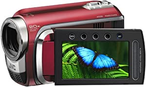 JVC GZ-HD300R High Definition Camcorder With 60GB Hard Disc Drive & microSD format With Konica Minolta High Definition Lens - Red