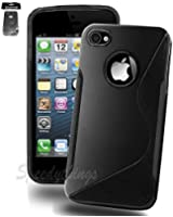 New Official Speedythings ® S-Line Wave Silicone Gel Case Cover For Apple iPhone 5 5S With Free Screen Protector