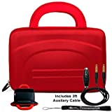 RED Durable Premium Travel Hard Nylon Carrying Case For Motorola Zoom Tablet (Compatible with All Models) + Includes a eBigValue (TM) Determination Hand Strap Key Chain + Includes a 3ft AUX (Auxiliary) Connector Cable with MIC plus Mute Button
