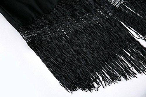 Olrain Women's Plus Size Tassel Long Loose Kimono Cardigan Black Large