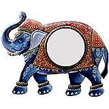 Divraya Wood Elephant Wall Mirror (60.96 Cm X 4 Cm X 45.72 Cm, DA116)