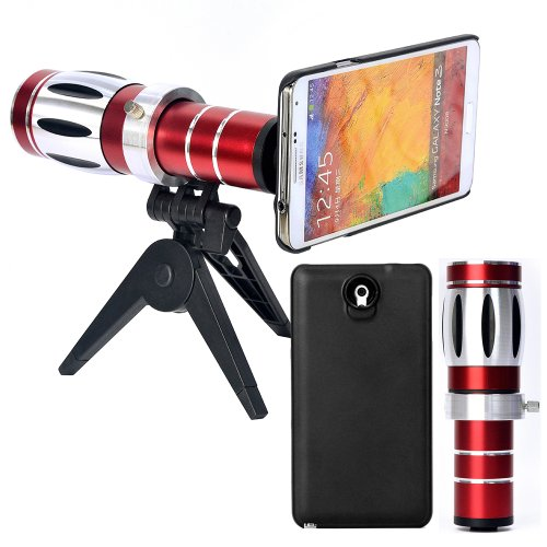 Moon Monkey High Quality 20x Telephoto Lens for Samsung Galaxy Note 3 III N9000 N9005 Plus 1 Mini Tripod / 1 Hard Case / 1 Microfiber Bag / 1 Microfiber Cleaning Cloth (Note 3)