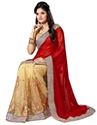 Beige And Red Net And Faux Georgette Saree With Blouse