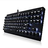 メカニカルキーボード ホワイトLEDバックライト付き 青軸採用  9種類発光モード調節可能 アンチゴースト機能搭載 87キーUSBゲーミングキーボード (ブラック)