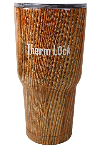 30 oz Tumbler by Therm Lock Stainless Steel Tumbler with Lid that closes and Double Wall Vacuum Insulation a Great Travel Mug and Coffee Cup in Wood Grain Best (Motorhome Vacuum compare prices)