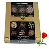 Valentine Chocholik's Belgium Chocolates - Exotic Assorted Love Truffles With Red Rose