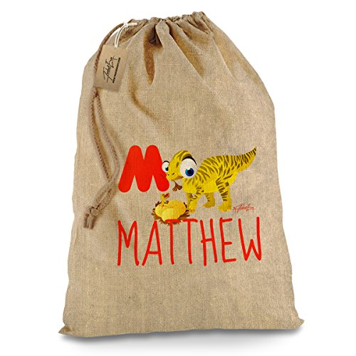 [Personalised Hessian Vintage Dinosaur Letter M Christmas Santa Present Sack X-Large] (Animals That Start With The Letter M)