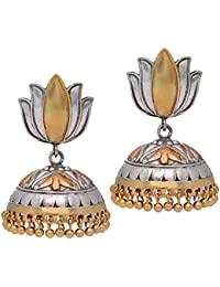 Jaipur Mart Rajasthani Traditional Lotus Design Two Tone Oxidised Silver & Gold Plated Jhumki Earrings Gift For...