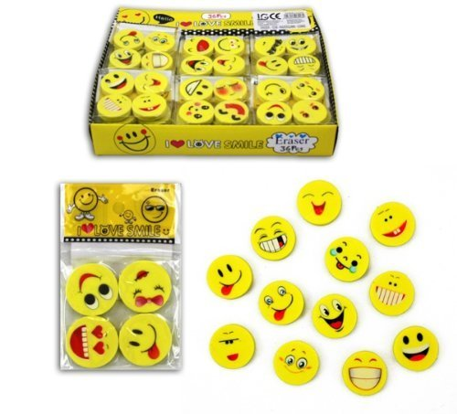 "DealInfinite 12 PCS ""I Love Smile"" Cute Lovely Smile Laughing Face Facial Expression Erasers Yellow"