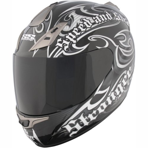 Speed and Strength The Power and The Glory Men's SS1000 Street Motorcycle Helmet - Black/Silver / Small