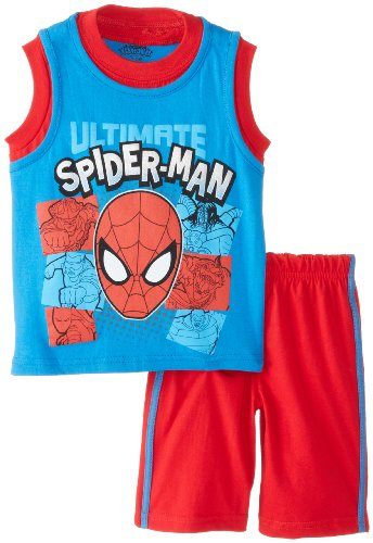 Marvel Little Boys' 2 Piece Spiderman Short Set, Blue, 2T front-1039342