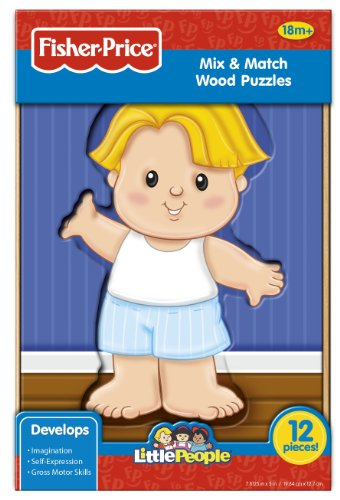 Fisher-Price Mix and Match Wood Puzzle (Little People), Boy, 12-Piece - 1