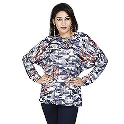 LALANA Blue Geometric Print Silk Shirt