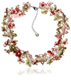 White Freshwater Cultured Pearl Floral Necklace with Silver and Copper Tone Brass Beads