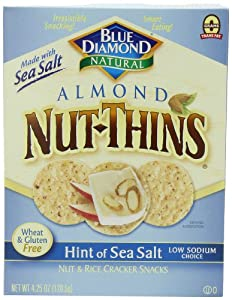 Blue Diamond Almond Nut-Thins Cracker Snacks, Hint of Sea Salt Nut, 4.25-Ounce Boxes (Pack of 12)