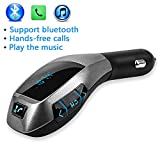 NUTK Car Kit MP3 Player Wireless Bluetooth FM Transmitter Radio Adapter Car Charger with USB SD Card Reader and Calling Remote Control for Ipad, Ipod, Smart phones