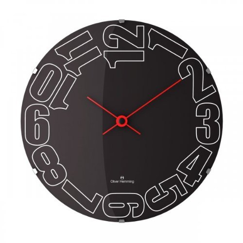 Oliver Hemming Black Side Numbers Domed Glass Contemporary 50cm Wall Clock