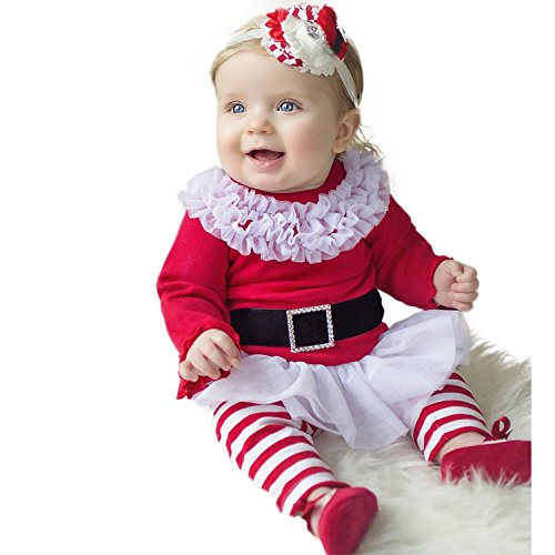2 Pcs Baby Girl Cuter Christmas Dress Top with Striped Leggings Outfit (3-6Months, red)