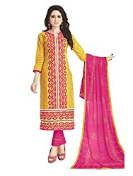 PShopee Yellow & Pink Cotton Embroidery Unstitched Multistylist Dress Material