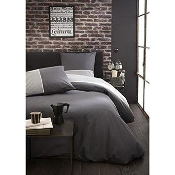 Beige 400 fils au pouce carr/é Basics Parure de lit en satin de coton 135 x 200 cm avec 2 taies doreillers de 65 x 65 cm