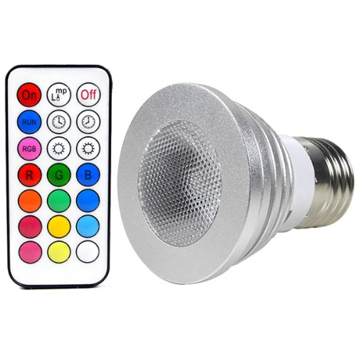 MENGS® E27 4W LED RGB Lampe Birne & Leuchtmittel SMD LEDs LED farbwechsel Strahler Licht Leuchtmittel mit IR-Fernbedienung (200lm, AC 100V - 240V, 50 x 64mm) - multicolor dimmbar inklusive Infrarot-Ferbedienung
