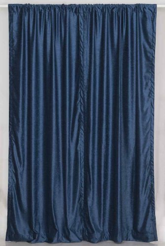 Navy Blue Velvet Curtain / Drapes / Panels 43 X 84 Inches - Piece