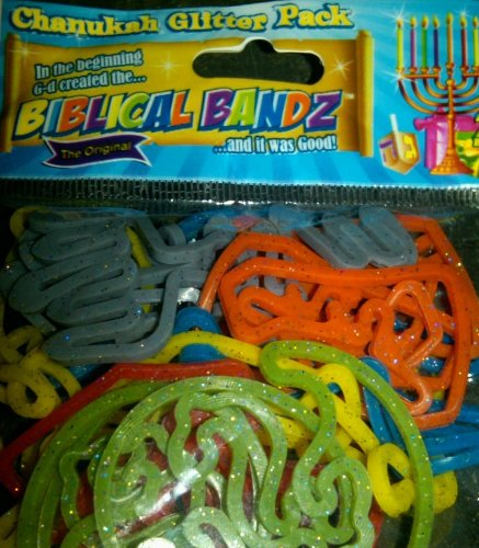 51OuNZzujWL Cheap Buy  The Ultimate Chanukah Glitter Pack of Silly Jewish Biblical Bandz with Menorahs, Dreidels, Gifts and more!