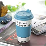 BargainUniverse? 'I'm not a paper cup' - Ceramic Travel Mug with Silicone Grip - Blue