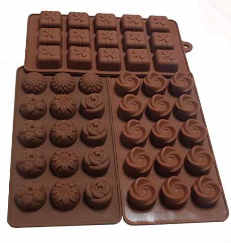 Yunko Set of 3pcs 15-cavity Chocolate Silicone Mold Ice Cube Candy Mould Fondant Mold Dessert Mould Flower Gift Box
