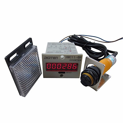 DIGITEN 0-999999 12-24VDC Digital LED Counter +PhotoElectric Switch Sensor +Reflector Automatic Conveyor Belting (Counting Sensor compare prices)