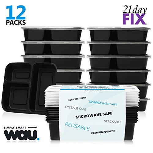 Meal Prep Containers 3 Compartment - 12 Pack Lunch Box Bento Box - Food Storage Portion Control Containers - 21 Day Fix BPA Free, Reusable, Microwave Dishwasher & Freezer Safe (Food Containers For 21 Day Fix compare prices)