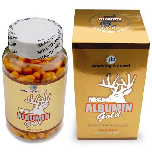 Amazing Natural Mega Albumin Gold W/ Deer Horn & Royal Jelly - 1500 Mg 200 Softgels