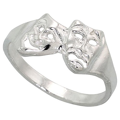 Sterling Silver Drama Masks Ring Polished finish 3/8 inch wide, size 8 (Smile Now Cry Later Ring compare prices)