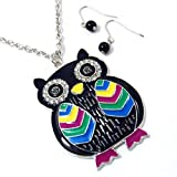 Colorful Owl Pendant Necklace and Earrings Set Fashion Jewelry