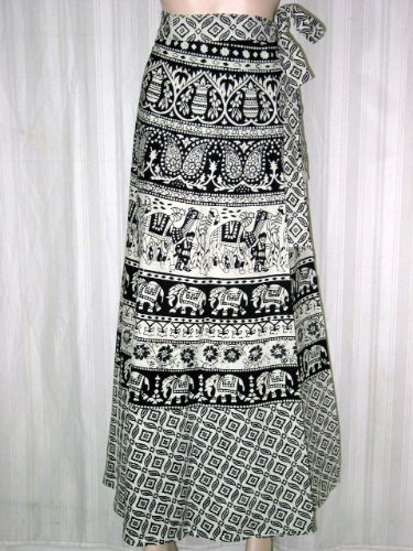 "Wrap Skirt- Womens Bohemian Black and White Animal Print Womens Wrap Skirts 36"" Long Free Shipping"