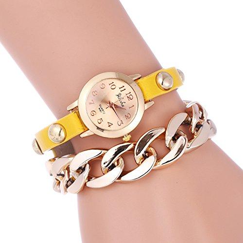YILISHA Chain Double Leather Strap Bracelet Analog Quartz Women Watch (Yellow)